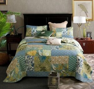 NEW! ~ CHIC GREEN TEAL PALM TREE YELLOW BLUE IVORY WHITE TROPICAL LEAF QUILT SET