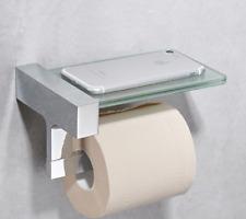 Glass Phone Shelf toilet paper holder multi-function Brass Chrome Tissue Bar