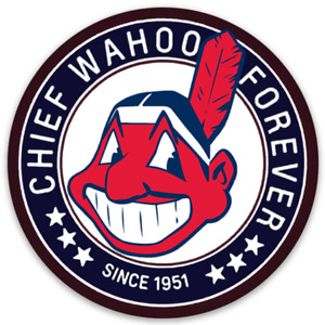 Cleveland Indians Chief Wahoo Forever Since 1951 logo type Die-cut round MAGNET