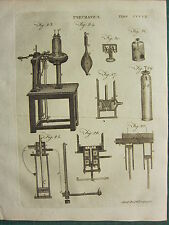 1797 GEORGIAN PRINT ~ PNEUMATICS AIR ~ EQUIPMENT APPARATUS