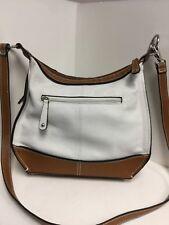 Las Handbag Purse Ivory Brown Leather With Man Made Trim Tignanello H50