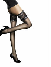 Fiore Sandrine Deep Lace Top Hold UPS Sheer Thigh High Large Black