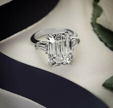 Certified 3 Ct White Emerald Cut Diamond 14K White Gold 3 Stone Engagement Ring
