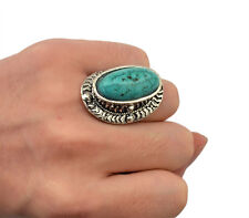 New Bohemia Fashion Vintage Style Tibet Silver Plated Turquoise Carving Rings