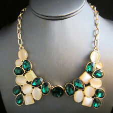 NEW : Urban Anthropologie Double Wishbone Collar Green Gemmed Necklace