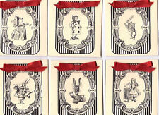 Vintage inspired Alice in Wonderland black stripe tea bag envelopes party favor
