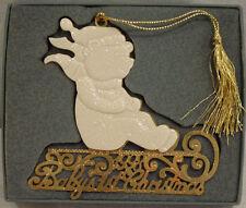 "Rare! Lenox ""Baby'S 1St Christmas"" Bear On Sleigh Ornament New In Box"