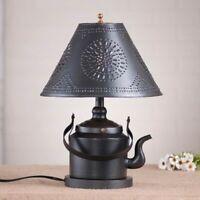 Country new smokey black tin TEA KETTLE table lamp w / punch tin shade