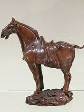 OLD CHINESE HAND CARVED BOXWOOD NOBLE HORSE STATUE. SUPERB.