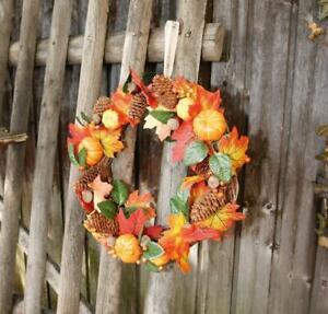 Deko Kranz Kürbis Wand Tür Zweige Herbst Halloween Künstlich Natur Tischkranz