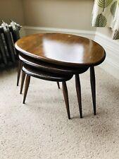 Nest Of 3 Dark Wood Ercol Pebble Tables Mid Century Retro Vintage