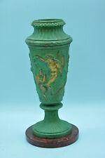 Ancien vase en fonte de métal patiné pied marbre mythologie grecque collection