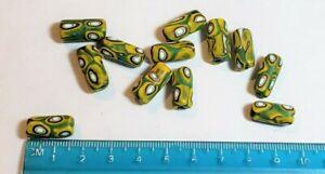 Vintage Venetian Murano Green & Yellow Millefiori Beads/Trade Beads - 25 beads