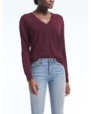 Banana Republic V-Neck Long Sleeve Lightweight Sweater Burgundy ~ Size Small S