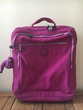 Kipling 4 Wheeled Suitcase Excellent Cabin Pink Designer Holiday Weekend Bag Vgc