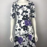 KILOLONE Purple Black Floral Sweetheart Rockabilly Pinup Swing Dress XXL New