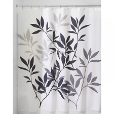 """~NEW~ interDesign Leaves Shower Curtain in Black and Gray 72"""" x 72"""""""