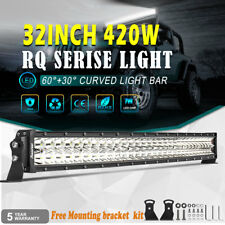 "OSRAM 32"" 420W Curved LED Light Bar Flood Spot 30""IN Offroad Driving Lamps 6000K"