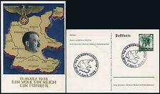 GERMANY AUSTRIA 1938 POSTAL STATIONERY ANSCHLUSS SPECIAL CANCEL