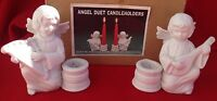 "VTG Set of 2 ANGEL DUET CANDLE HOLDERS ""Christmas Around The World"" WHITE BISQUE"