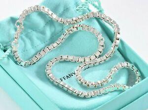 Tiffany & Co Sterling Silver Venetian Box Link Necklace & Pouch Men's Unisex