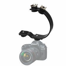 C-Shape Bracket Video Handheld Grip 2 Accessory Shoes C Shape DSLR Flash Photo