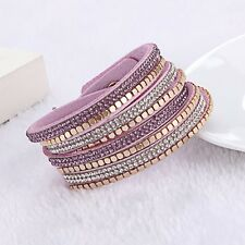 Lavender and Gold Vegan Leather Wrap Bracelet