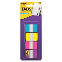 """Post-it 1"""" Solid Color Self-stick Tabs - Write-on - 88 / Pack - Aqua, Yellow,"""