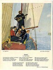 Juri Répin, Kuokkala Im Segelboot Gedicht: Empor!von Maxim Gorki Kunstdruck 1914