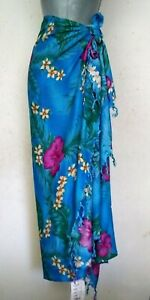 Thai Turquoise Sarong Fringe Floral Tropical Pareo Dress Skirt Beach Cover Wrap