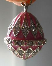 Faberge inspired Russian Egg Pendant /Charm bejeweld Pink Easter gift idea 7/8""