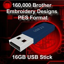 160,000 Brother PES Embroidery Pattern Design Files USB Stick Drive