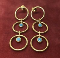 Vintage Sterling Silver Earrings 925 Gold Tone Dangle Hoops Blue Stone