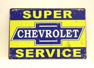 Super Chevrolet Parts & Service Tin Sign Poster Man Cave Mechanic Garage Chevy