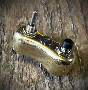 Mini Handlebar Switch Button Lever Brass Cafe Racer Bobber Chopper Custom
