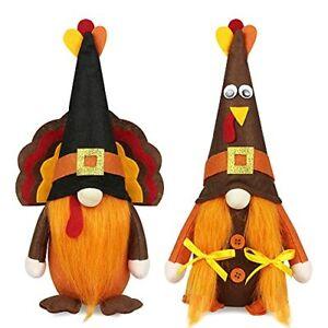Mr and Mrs Thanksgiving Gnome Plush Decoration 2 Pcs Turkey Gnomes Handmade Home