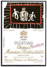 PAUILLAC 1E GCC ETIQUETTE CHATEAU MOUTON ROTHSCHILD 1994 DECOREE RARE §14/06/16§