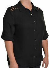 Women's Plus Polyester Career Button Down Shirt Tops & Blouses