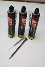 New listing 3x Pack Lot 9.5oz Red Head A7+ A7P-10D Anchoring Adhesive Cartridges w/ Nozzles