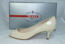 originale Prada Gr 38 Open-Toes décolleté Tacchi Scarpe cera beige nuovo