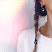 1 Pair Boho Fashion Simple Large Circle Star Drop Hoop Earrings Women Jewelry