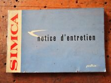 manuale libretto di servizio uso manutenzione simca ARONDE - notice d'entretien