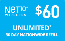 NET 10 REFILL  Prepaid $60 Refill Top-Up , AIRTIME  RECHARGE  UNLIMITED TALK/TEX
