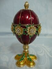Pre-Owned Reproduction Egg, Jeweled & Enameled w/Flower & Eggs Insert