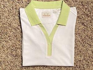 EP Pro Tour Tech White Golf Polo Shirt Top W/ Light Green Trim Size Large
