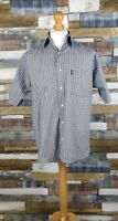 Rockport Cotton Grey Checked Short Sleeved Mens Shirt Size L