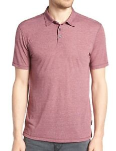 John Varvatos Star USA Men's Short Sleeve 3 Button Melange Polo Shirt Oxblood