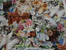 Cotton Fabric Novelty Print (1/3Yrd) Many  Kittens in the garden flowers