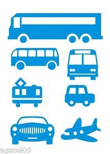 PLANE BUS CAR SET BLUE COOL WALL STICKERS KIDS CHILDREN BOY BEDROOM VINYL