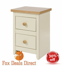 Bedside Cabinet Table Cream and Oak Petite 2 Drawer Painted Bedroom Furniture